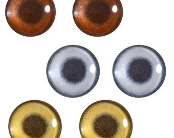 3 Pairs 25mm Metallic Glass Eye Cabochons in Silver Bronze Gold for Jewelry Pendant or Art Doll Making or Taxidermy Sculptures and Crafting