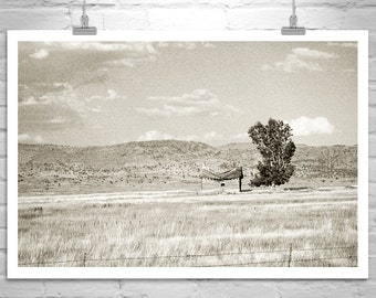 Western Landscape Art, Prairie Art, Ranch Photograph, Fine Art Sepia Photograph, Farm Picture, Rustic Art, Western Art, Log Cabin Picture