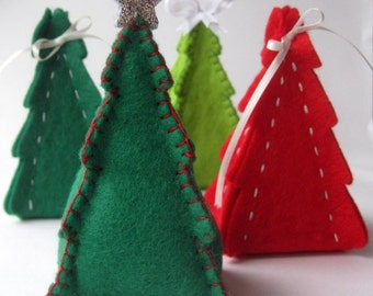 PDF PATTERN: Christmas Tree Gift Box & Ornament Sewing Tutorial - felt DIY Decoration - Holiday accessory