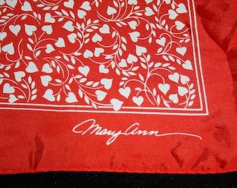 Womens Scarf Wrap Vtg 1978 Hallmark Bright Red Heart Valentines Day Mary Ann