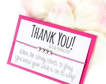 SALE - Thank You Gift - Thank You Wish Bracelet - Thank You Card