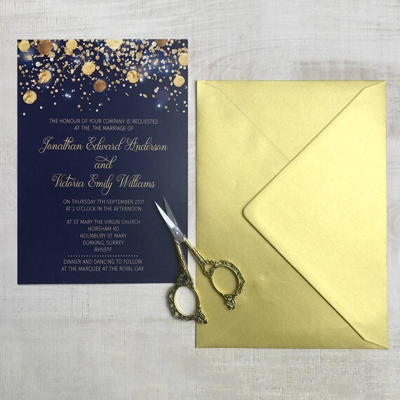 Navy Wedding Invitation Template, Wedding invites, Calligraphy wedding invitation, Wedding invitations printable, Modern, Gold, Navy blue