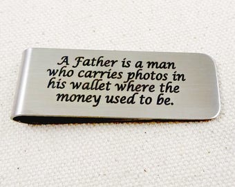 Father Engraved MONEY CLIP – Gift for Dad – Daddy  from Children – Christmas Gift – Father's Day – Custom Personalized