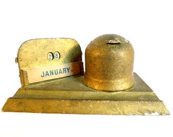 Antique Perpetual Desk Calendar and Inkwell