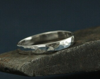 14K White Gold Band Hammered Gold Ring Hammered Men's Ring Wedding Hammered Women's Ring Wedding Hammered Wedding Ring 3mm Wide by 1mm Thick
