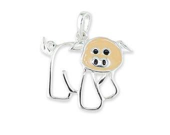 Sterling Silver Enameled Pig Piglet Pendant Necklace