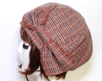 Beret Hat Bow, Brown Rust Herringbone Wool Beret Bow, Tweed Wool Beret Bow, Winter Beret Hat, Wool Beret Hat Bow
