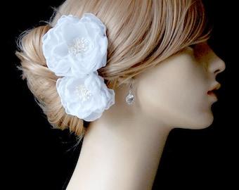 Wedding White Hair Flower, Bridal Chiffon Hair Flowers, Wedding Hair Clips, Bridal Accessories - Sash Accessories In Bright White Chiffon