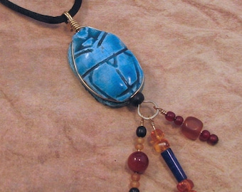 Blue Egyptian Scarab Necklace with Bead Dangles, Ancient Egyptian Styled Scarab Pendant, Wire Wrapped Scarab Necklace, Egyptian Jewelry