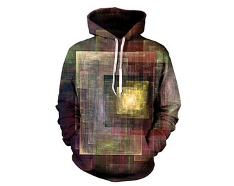 Colorful Abstract Hoodie - Muted Rainbow - Festival Clothing - Cubism Art Hoody