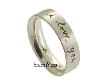 The Handwriting Ring in Sterling Silver Personalized and handcrafted With Your Handwriting