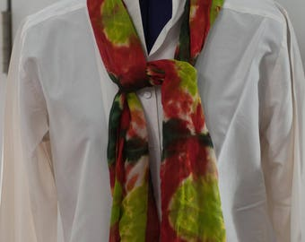 Silk Shibori Scarf - Hand Dyed Silk Scarf - Dark Green, Red, Chartreuse - Gift for Her