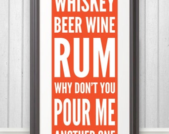 Whiskey Beer Wine Rum Print