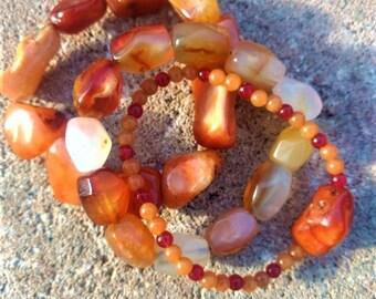 Stackable Carnelian gemstone bracelets//carnelian//gemstone//bracelets//boho style//braclet