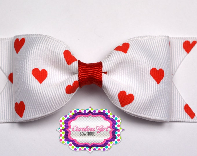 "White with Red Hearts Bow ~ 3.5"" Bow ~ No Slip ~ Small HairBow ~ Girls Barrette ~ Toddler Bow ~ Baby Hair Bow ~ Hair Clip ~ Girls Hair Bow"