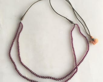 Vintage Indian Beaded Garnet and Woven Fiber Tassel Necklace