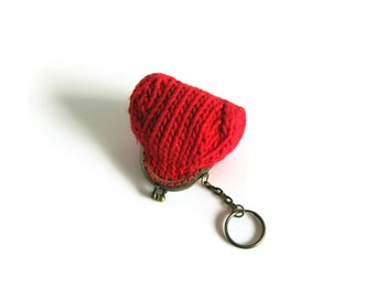 Coin Purse Knitted in Red Cotton - Kiss Lock Money Holder, Womens, Small Pouch, Change, Stocking Stuffer, Cute Gifts for Her Under 20
