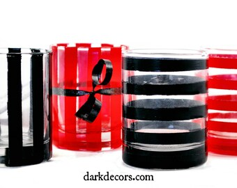 "Shot Glasses - Set of 4 - Roulette - Always Bet on Black -  Striped - ""You've been poisoned"" - Dark Decors - Gothic Gifts - Barware"