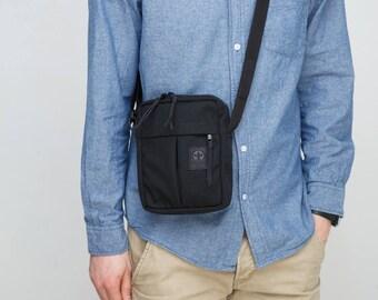 Black shoulder bag Black Small messenger Bag Travel bag Bag for men Cordura bag