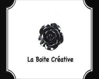 BLACK FLOWER ROSE SHAPED CABOCHON
