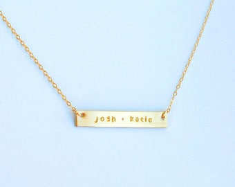 Two name gold, bronze, or silver bar necklace Mothers Day gift