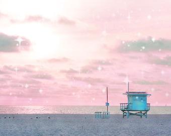 Lifeguard Tower, Pink Beach Photography California Art, Pink Wall Art, Starry Sky Pastel Wall Art, Santa Monica, Nursery Art