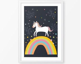 Kids poster,unicorn poster,nursery poster,baby wall art,nursery illustration,kids room decor,nursery decor,printable baby poster,wall art