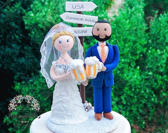 Personalized Beer and Travel Wedding Cake Topper