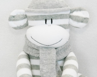 Stuffed Toys, Sock Monkey Doll Grey and White Stripes with Grey Hat, Stuffed Animal, Kids