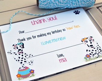 Kids Fill In the Blank Thank You Notes / Kids Thank You Notes / Childrens Dalmation Thank You Note Cards / Fill In The Blank Dalmation Notes