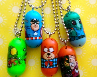 Set of 5 Super Cute Super Hero Bean Custom Charm Necklaces - Party Favors