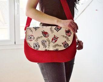 Owls bag, owls clutch,red clutch,corduroy bag,owls handbag,owls tote,owls fabric,owl bag,kawaii bag,canvas clutch,red handbag,red purse