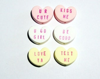 Conversation Heart Beads for Valentine's Day - Handmade from Polymer Clay - Vertical Holes