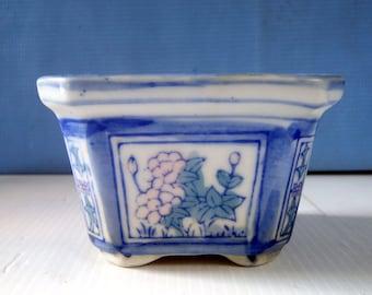 Ceramic flower pot hand painted ideal for bonsai cactus succullent rr