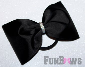 Budget - Large Black  tailless cheer bow with rhinestone wrap - by FunBows !