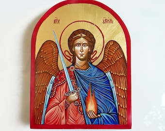 Archangel Uriel Icon, handpainted icon orthodox style on wood panel, 6 x 8 inches, MADE TO ORDER