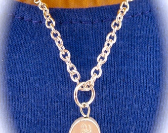 """American Girl Sized Necklace With a Silver """"Love"""" Charm on a Silver Chain"""
