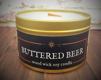 BUTTERED BEER Candle | Wood Wick, Soy | Gold Tin | From Huffpo.com's Gift Guide for Harry Potter Fans | Fantasy - Bookworm - Fandom Gift