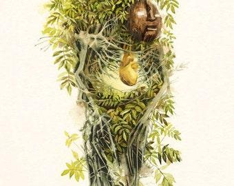 Green Man Two 8.5x11 Print