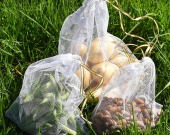 Set of 3 Zero Waste Reusable Produce bags/net fruit and vegetable bags/large/medium/small