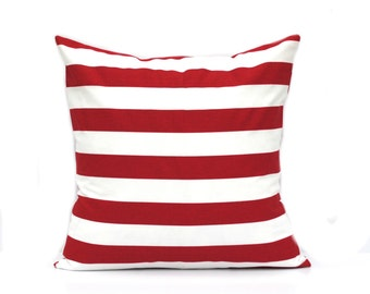 One red white striped pillow cover, cushion, decorative throw pillow, decorative pillow, accent pillow, pillow case