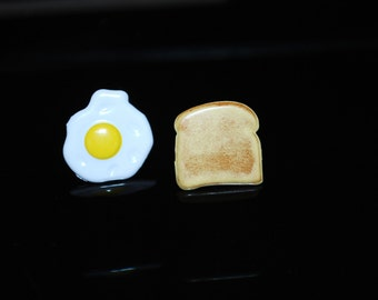 Breakfast Earrings -- Breakfast Studs, Egg and Toast Studs, Sunny Side Up, Fried Egg, Chef Earrings, Butter and Toast
