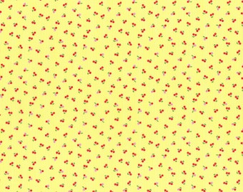 Minny Muu yellow with red cherries Fall 2016 - Lecien Japan - quilt cotton fabric