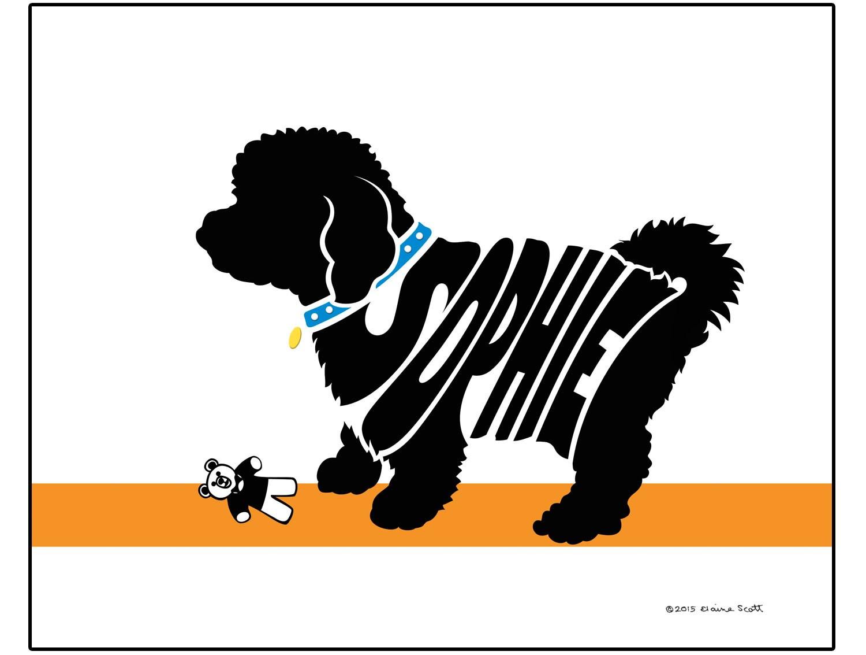 Personalizada Bichon Frise silueta impresión perro raza