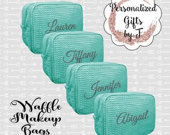 Mint Bridesmaid Makeup Bag, Bridesmaid Cosmetic Waffle Bag, Bridesmaid Bag, Monogrammed Bag, Personalized Bridal Party Gift