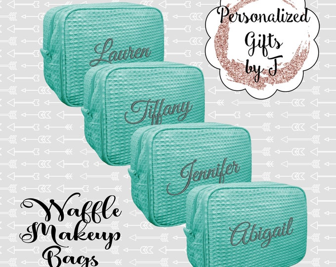 Bridesmaid Makeup Bag, Bridesmaid Cosmetic Waffle Bag, Bridesmaid Bag, Monogrammed Bag, Personalized Bridal Party Gift