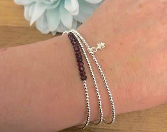 Garnet Stacking Bracelet Set - January Birthstone, Dainty, Thin, Sterling Silver Bracelets