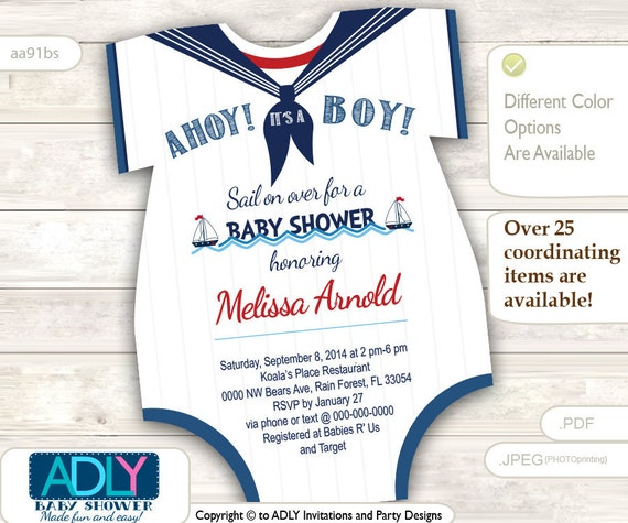 Nautical Onesies Baby Shower Invitation For A Baby Boy In Navy