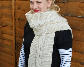 Oatmeal Wool Scarf - Wool Knitted Scarf - Women's Scarf - Handknitted scarf
