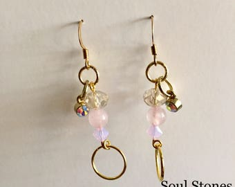 Gold Rose Quartz Dangle Earrings